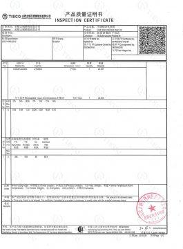 Certificat de inspecție 304SS